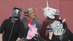 Crew members in horse masks hidden frame S5E9