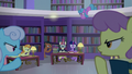 Library ponies shushing Twilight and Moon Dancer S5E12.png