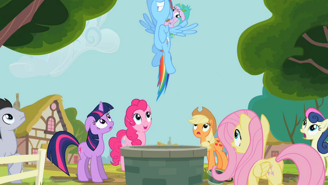 File:Rainbow Dash emerges from Well S2E8.png