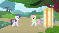 Rarity inspects Fluttershy's outfit S1E20