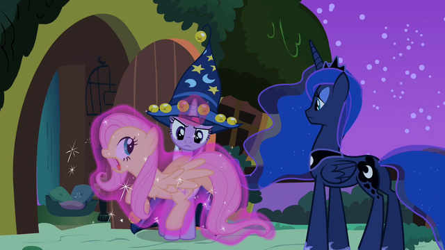 File:Twilight holds Fluttershy with her magic S2E04.png
