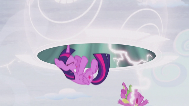 File:Twilight and Spike fall out of the portal into the present S5E25.png