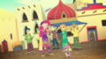 Pinkie Pie and Spike entertaining in the plaza EGS2.png