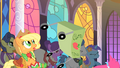 Pinkie Pie overturns Applejack's cake cart S1E26.png