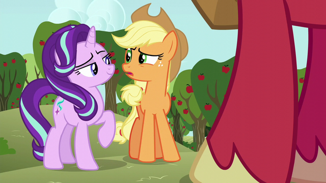File:Starlight confident; Applejack worried S6E6.png