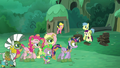Ponies, Zecora, and Spike walking S5E26.png