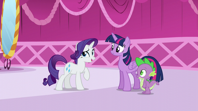 "File:Rarity ""You've returned from your book sorting sabbatical!"" S5E22.png"