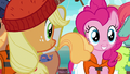 AJ and Pinkie look at line of porter ponies S6E22.png