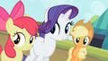 Apple Bloom, Rarity and Applejack are smiling S2E05.png