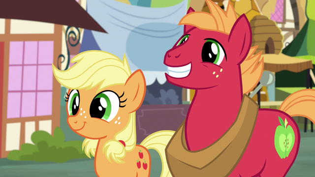File:Young Applejack and Big Mac smiling widely S6E23.png