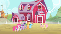 Fluttershy walking towards her friends S4E07