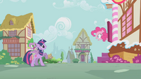 Pinkie urging Twilight and Spike to hurry S1E09