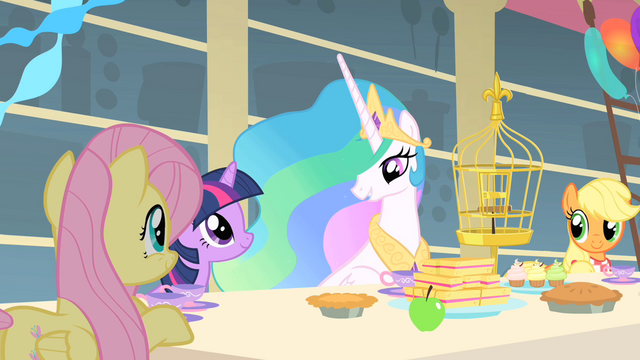 File:Celestia and Fluttershy bond over love of animals S01E22.png