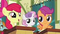 Apple Bloom in awe of the ribbons S6E14