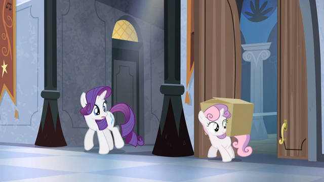 File:Rarity looks at Sweetie Belle with box S04E19.png