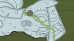 Snail crawling across Twilight's statue S1E17