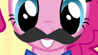Pinkie Pie putting on a mustache S4E22