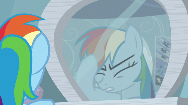 File:Rainbow in front of the mirror thinking S5E5.png