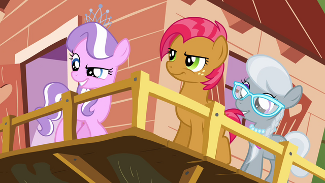 File:Diamond Tiara, Silver Spoon and Babs at the clubhouse S3E04.png