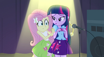 Fluttershy hiding behind Twilight EG2