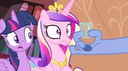 Discord showing a glass to Twilight and Cadance S4E11