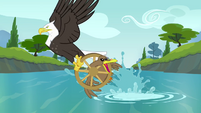 Eagle snatching duck with wheel around neck S4E09
