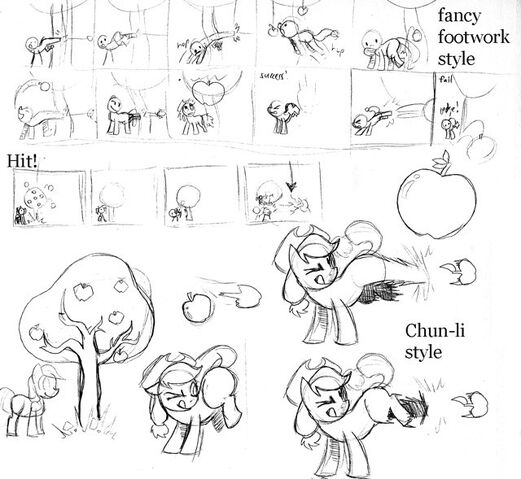 File:FANMADE Applejack kicking production sketch Fighting is Magic.jpg