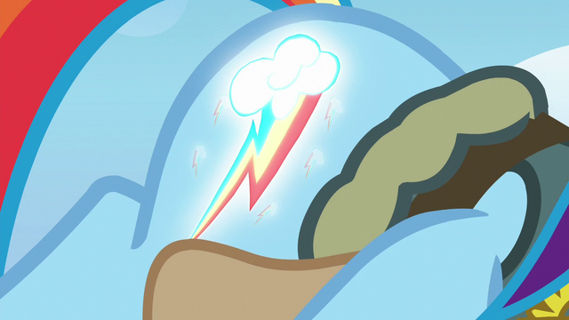 File:Rainbow Dash's cutie mark starts to glow S6E24.png