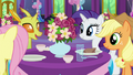 AJ, Fluttershy, Rarity, and a changeling talking S7E1.png