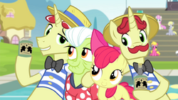 Flim and Flam next to Apple Bloom and Granny S4E20