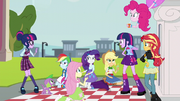 Sci-Twi waves shyly at her pony double EG3.png