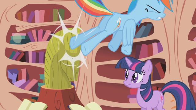 File:Rainbow kicks Twilight's pony bust S1E07.png
