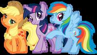 Applejack, Twilight Sparkle and Rainbow Dash