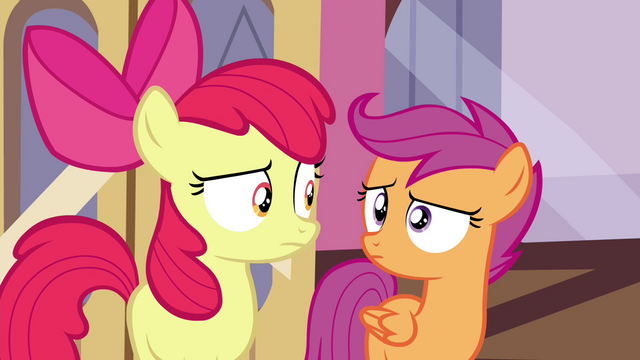 File:Scootaloo and Apple Bloom looking at each other S4E15.png