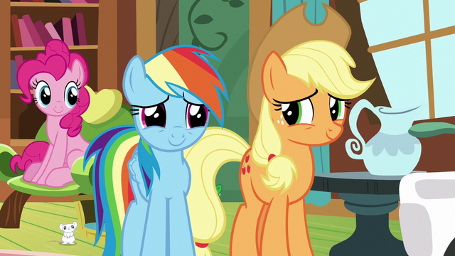 File:Pinkie, Rainbow, and Applejack listen to Fluttershy S7E5.png
