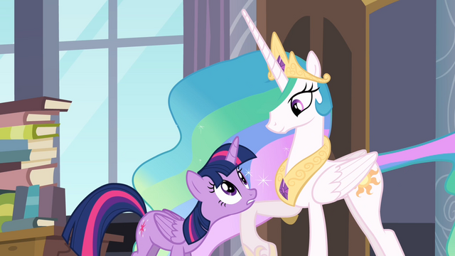 File:Celestia lifting Twilight's head with her leg S4E01.png