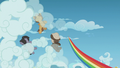 Young Rainbow speeds away from the Boy Bullies S5E8.png