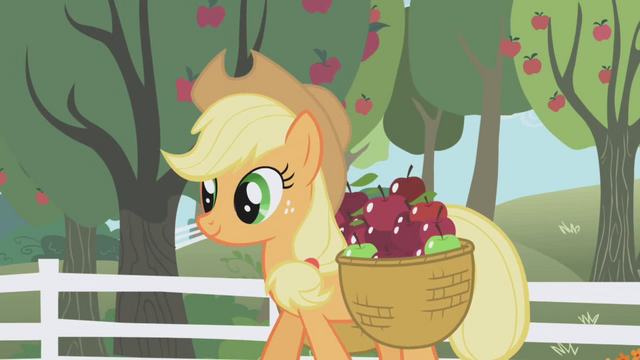 File:Applejack walking through the apple orchard S01E03.png