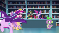 Cadance, Twilight, and Spike sees Starlight running off S6E2
