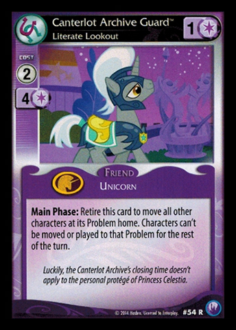 File:Canterlot Archive Guard, Literate Lockout card MLP CCG.jpg