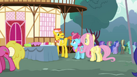 Fluttershy talking to Mr. and Mrs. Cake S4E16