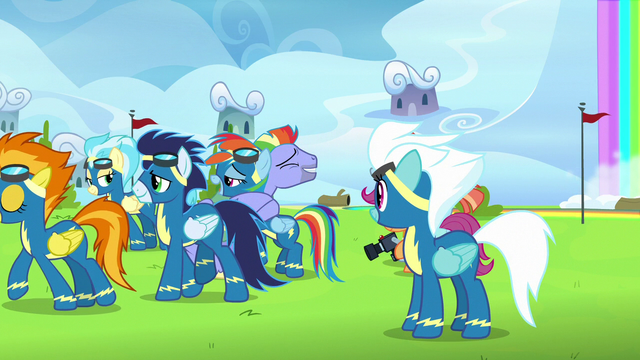File:Wonderbolts give Rainbow and her parents privacy S7E7.png