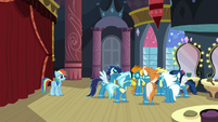 The Wonderbolts whispering to each other S5E15