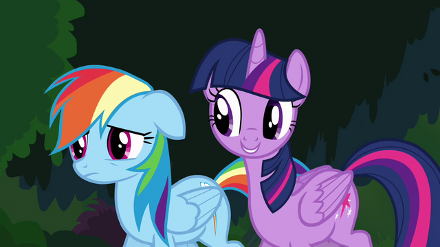 """File:Twilight and Rainbow """"in every Daring Do book"""" S4E04.png"""