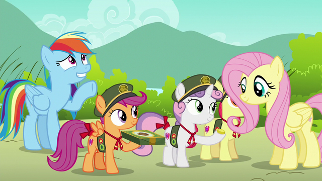 File:Fluttershy buys cookies; Rainbow waves at Harry S6E15.png