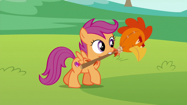 File:Scootaloo carrying chicken head on a stick S6E14.png