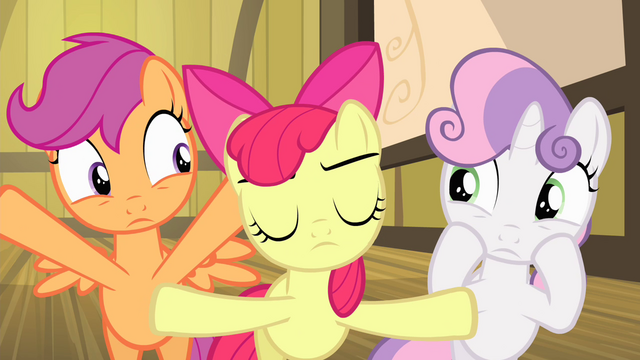 File:Apple Bloom silencing Sweetie Belle and Scootaloo S4E17.png