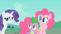 Rarity, Pinkie and Spike looking around S1E26