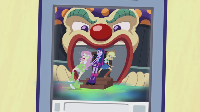 File:Twilight and AJ dragging Fluttershy to haunted house EG2.png