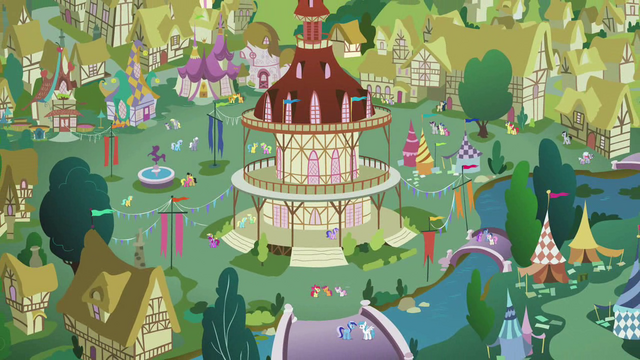 "File:Zoomout of Ponyville as Apple Bloom sings ""I don't think that we're mistaken"" S2E17.png"